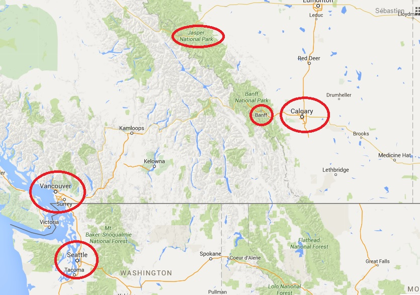 Carte Canada Les Rocheuses.Canada Les Rocheuses Les Furet Voyagent